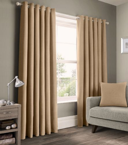 READY MADE PLAIN 100% COTTON MATERIAL UN-LINED RINGTOP EYELET PAIR OF CURTAINS NATURAL